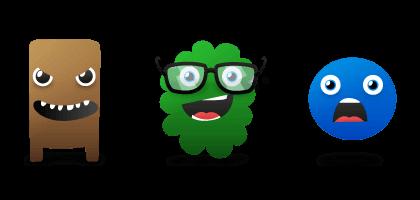 Drei lachende Scherz-Monster